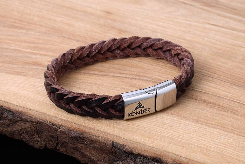 Konifer Leather and Stainless Bracelet #KC001BR