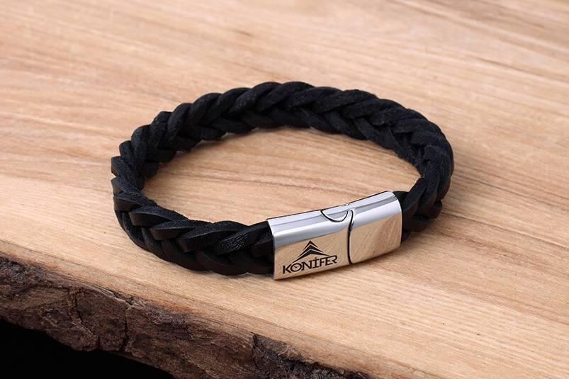 Konifer Leather and Stainless Bracelet #KC001BK