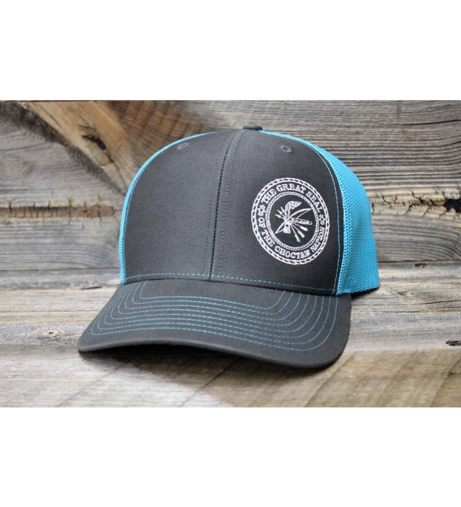 """Choctaw """"SEAL"""" Cap Charcoal & Turquoise"""