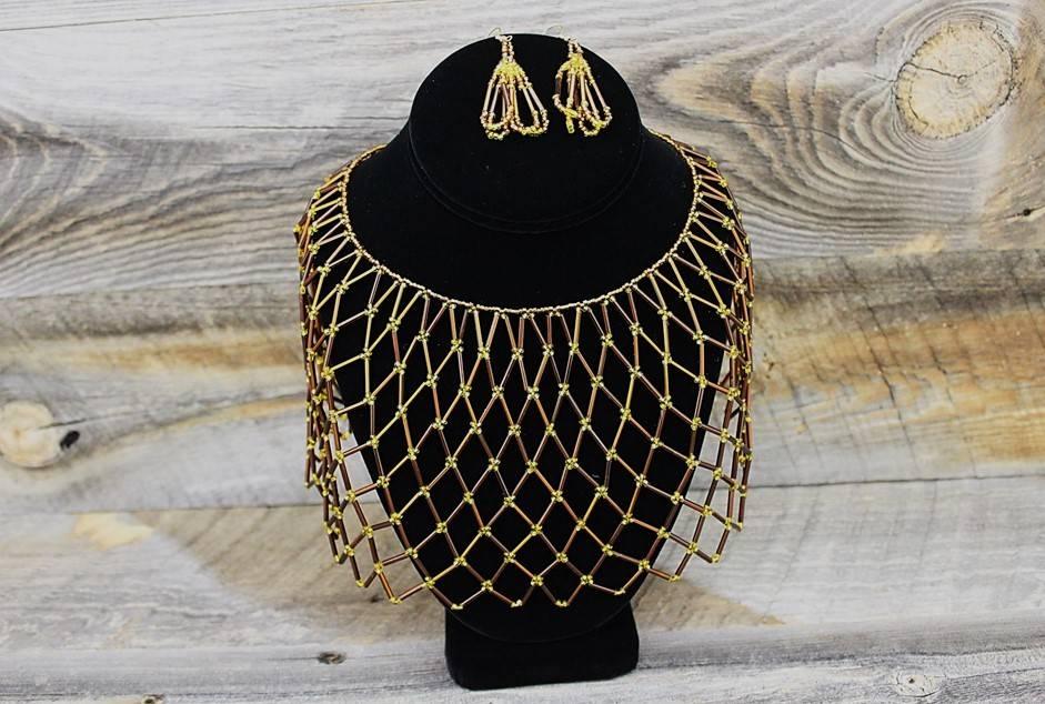 Brown & Gold Beads Collar Set