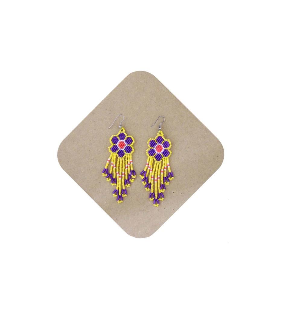 *AB Yellow/Purple/Red Beaded Flower Earrings