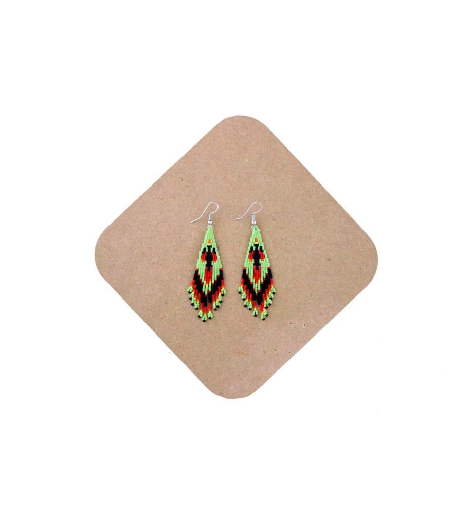 *AB Green/Variety Color Beaded Firebird Earrings
