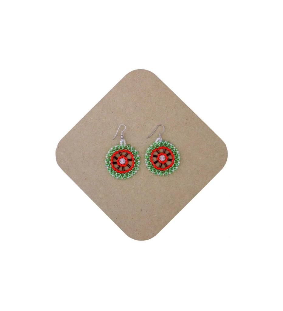 *AB Green/Red/Brown Round Beaded Earrings