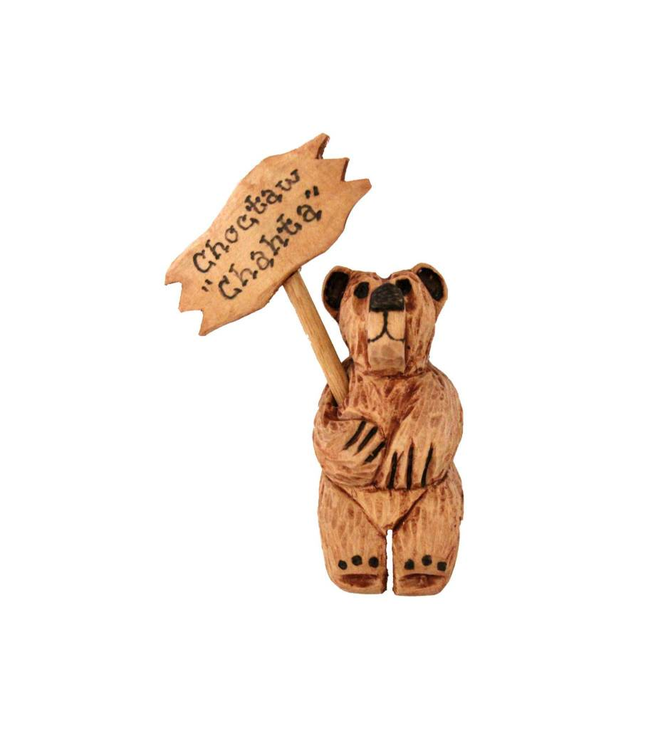 "*JS SITTING Carved Bear w/Sign ""CHOCTAW"""