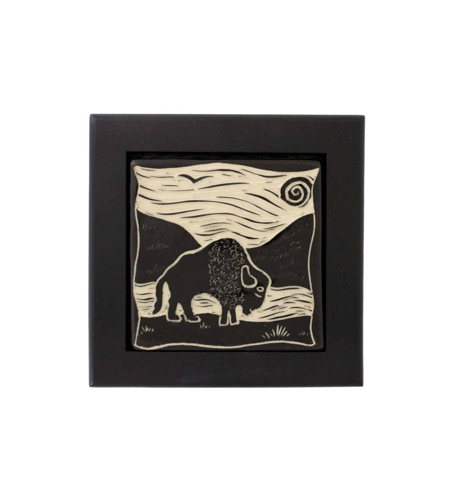 "*CBY 4"" Framed Tile B/W Buffalo"