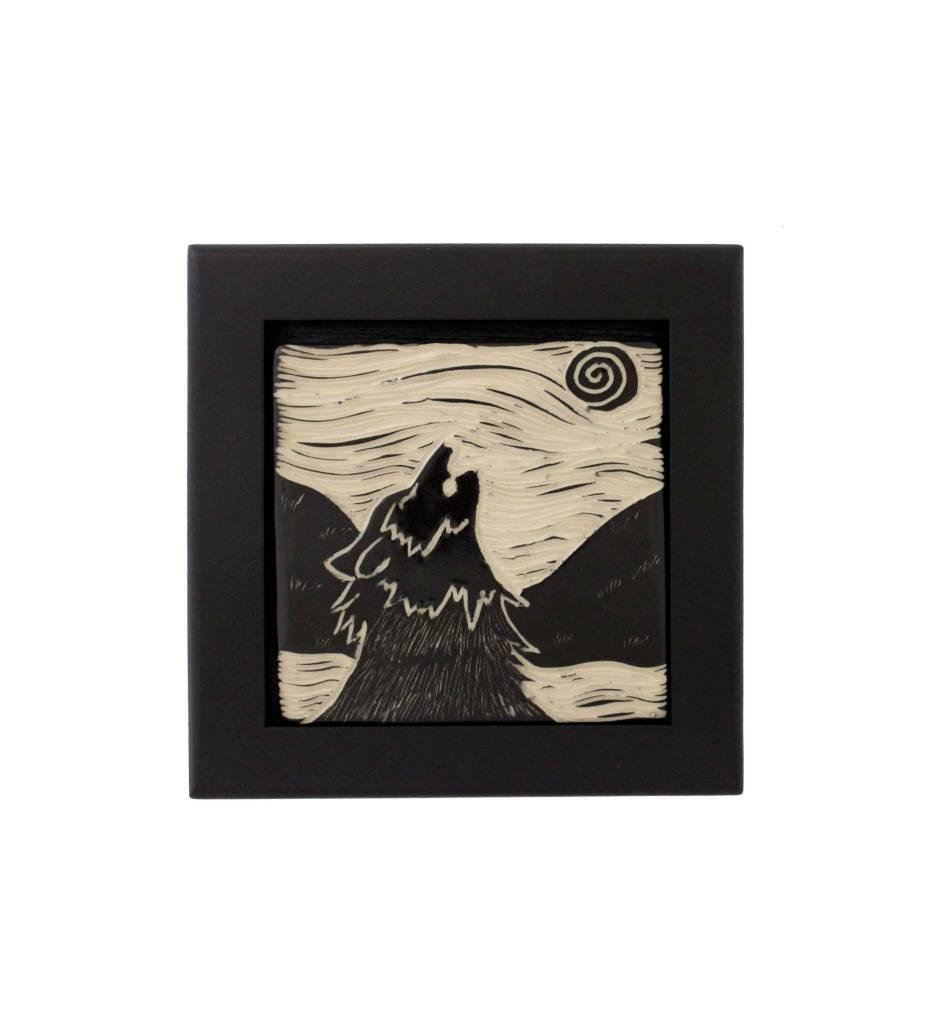 """*CBY 4"""" Framed Tile B/W Wolf"""