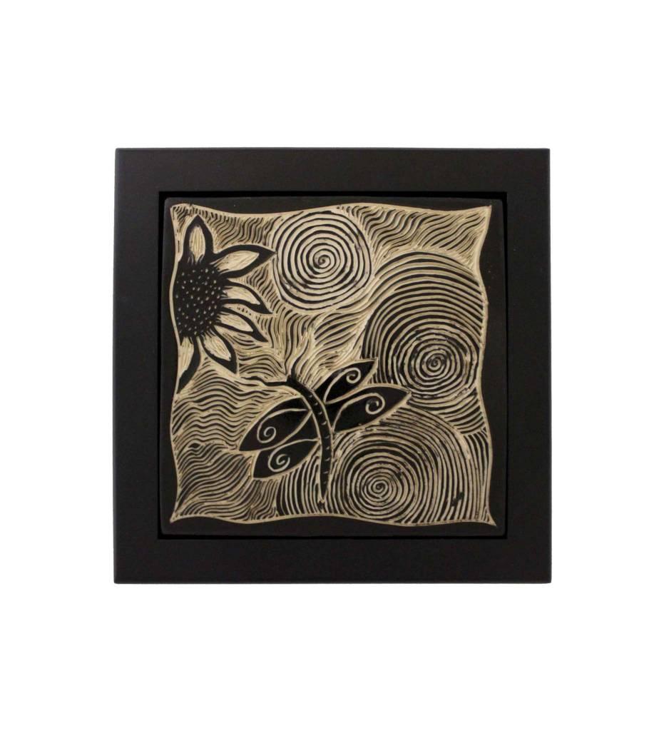 """*CBY 6"""" Framed Tile B/W Dragonfly"""