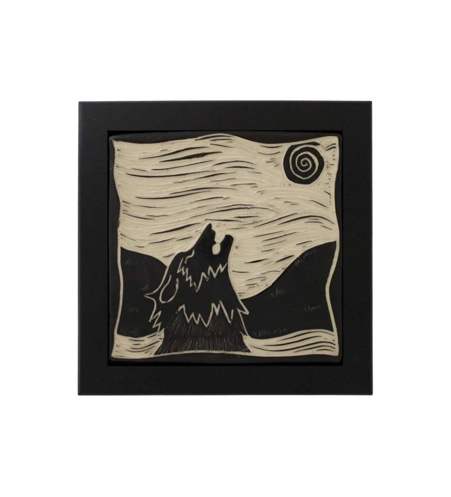 """*CBY 6"""" Framed Tile B/W Wolf"""