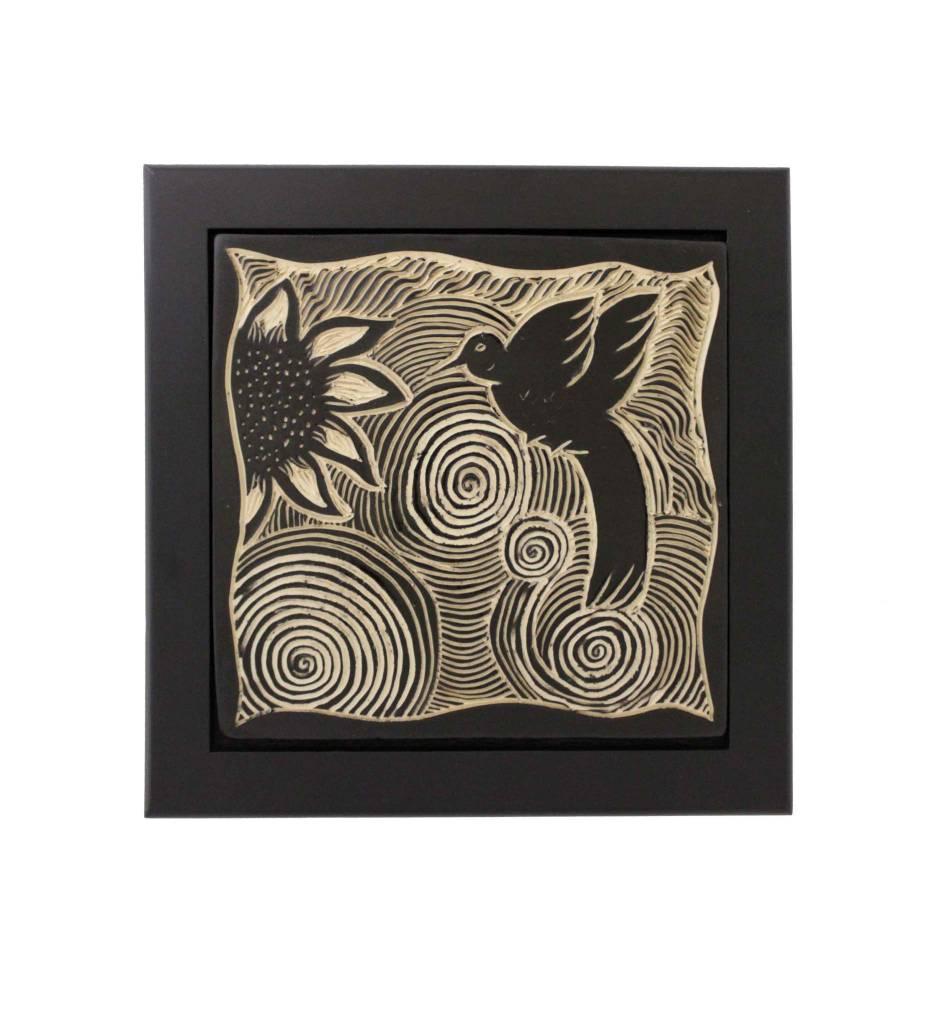 """*CBY 6"""" Framed Tile B/W Hummingbird"""