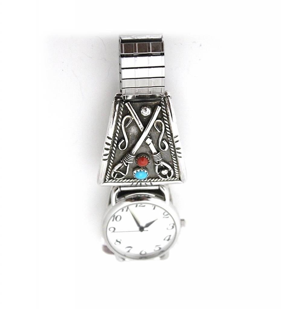 "Jerry Lowman JL Silver ""Stickball"" Design Men's Watch"