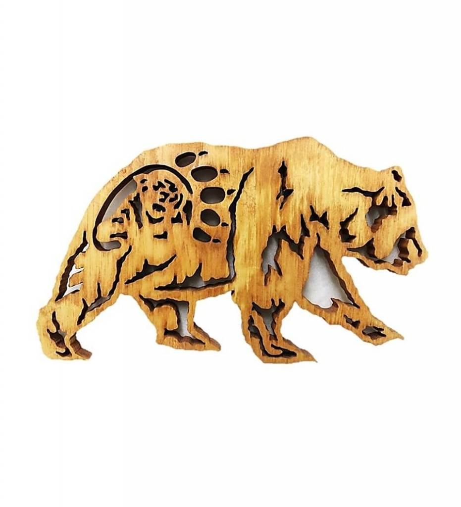 BB Grizzly Bear and Mountain Lion Wooden Plaque