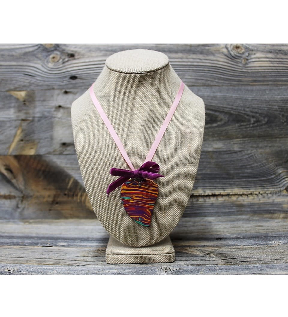 *JA HEART PENDANT W/PINK RIBBON NECKLACE