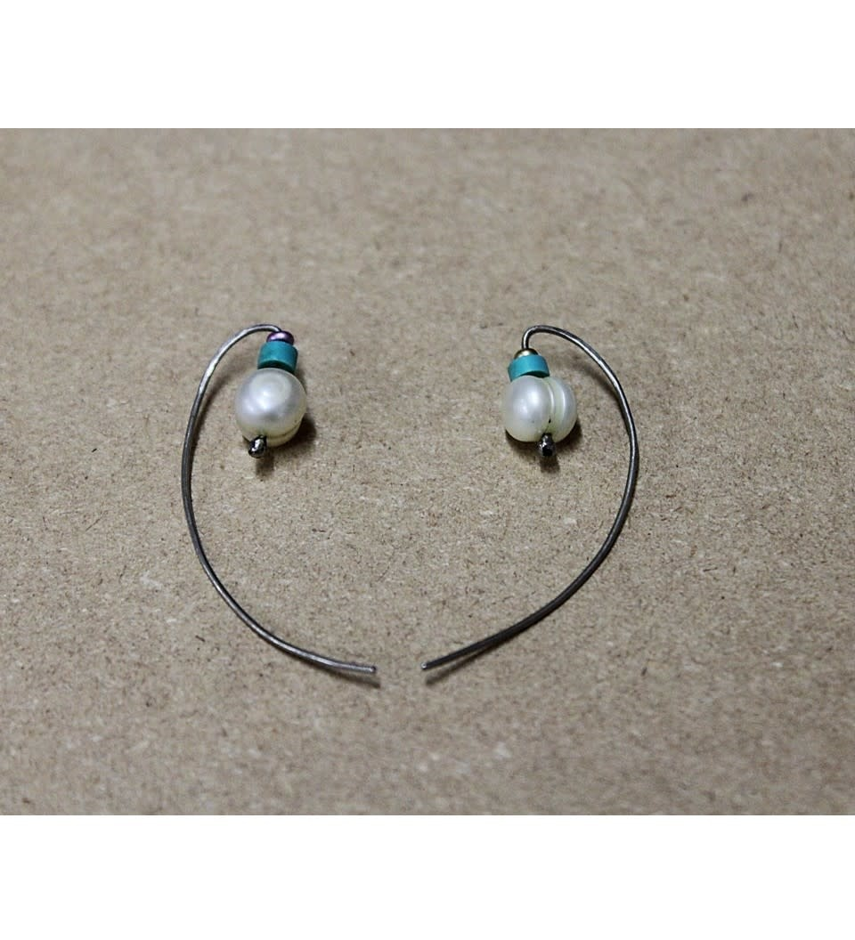 *JA SILVER EARRINGS W/BEADS