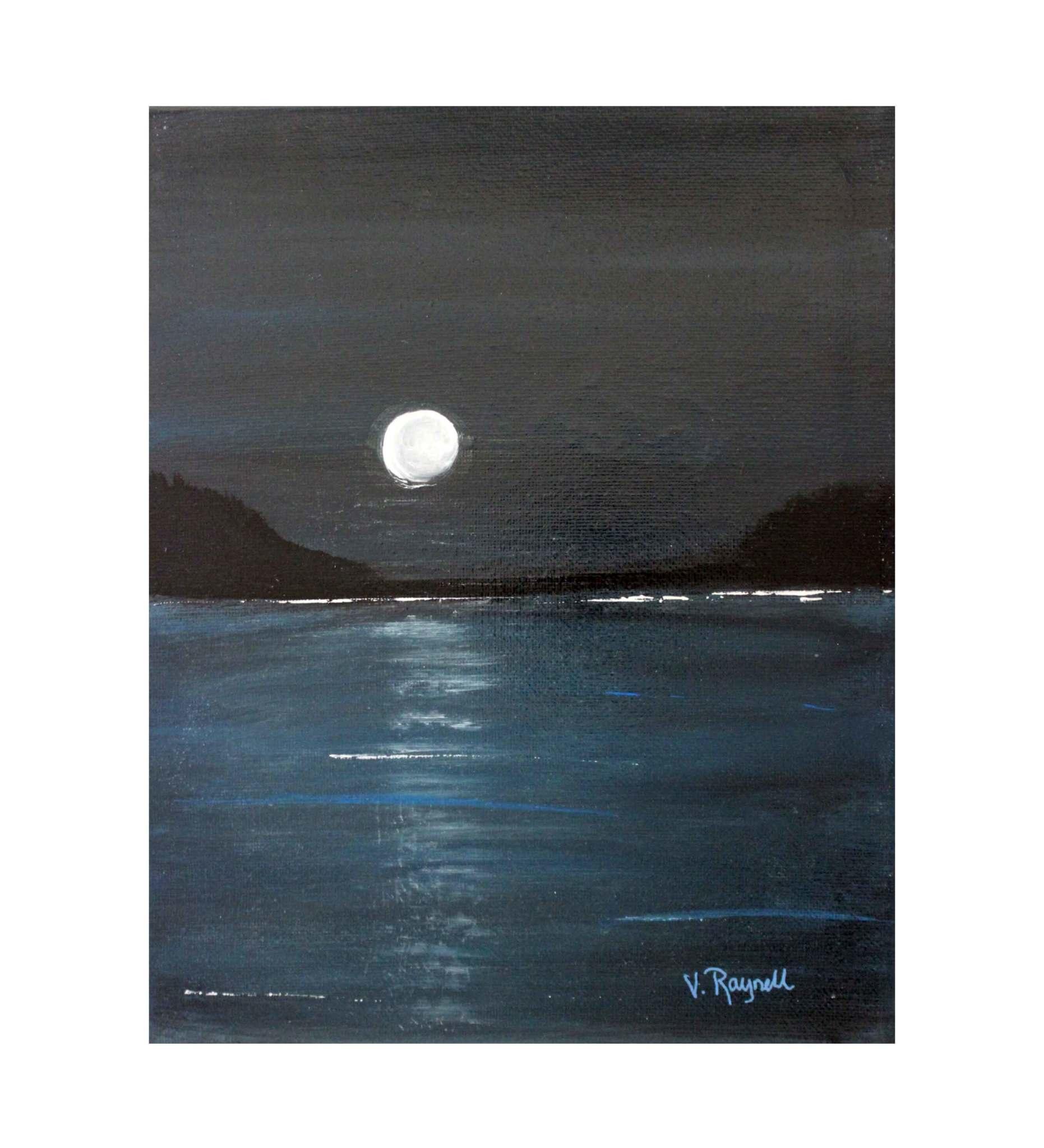 "*VB 5 X 7 Painted Canvas ""Moon"""