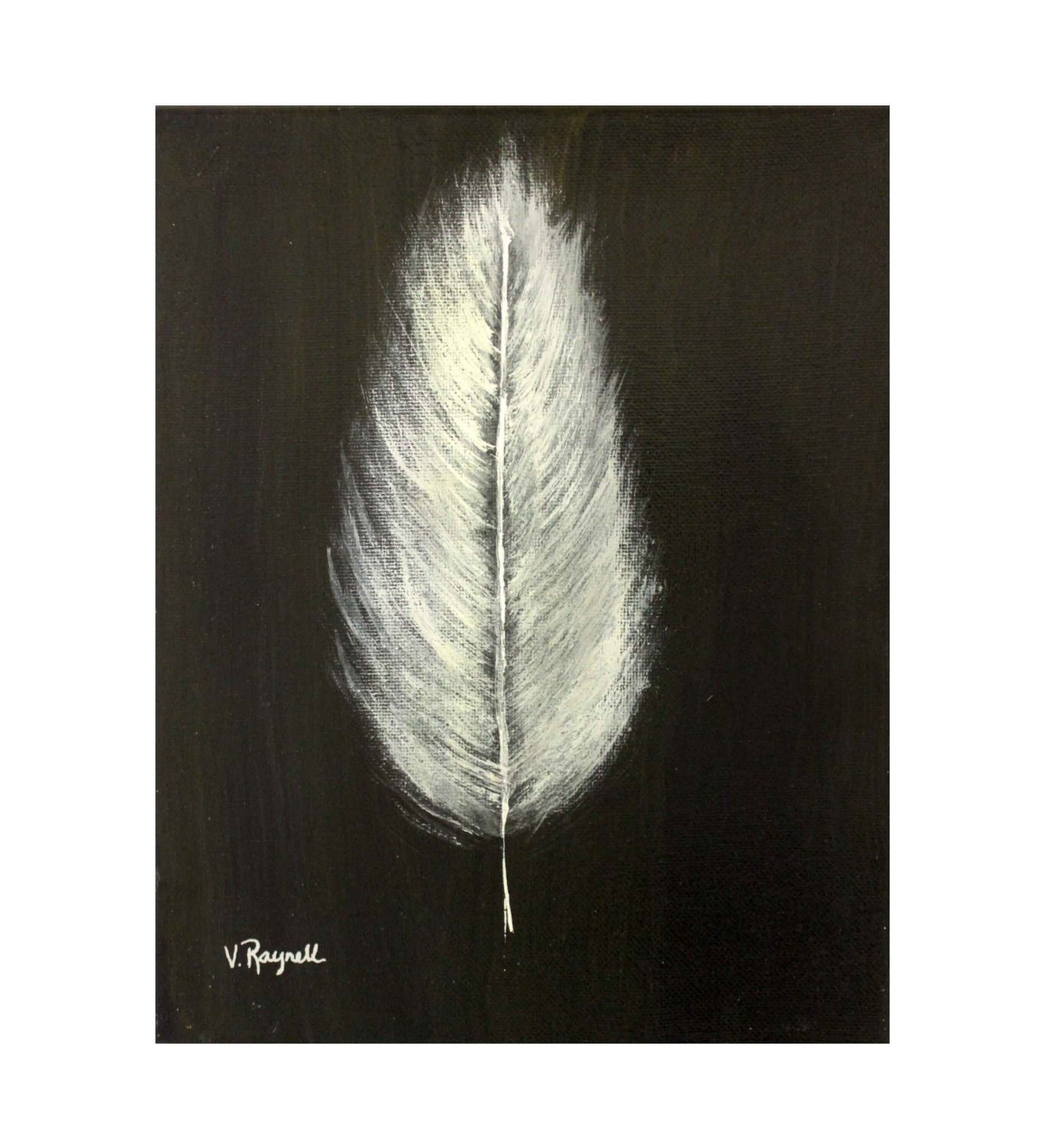 """*VB 5 X 7 Painted Canvas """"Black / White Feather"""""""