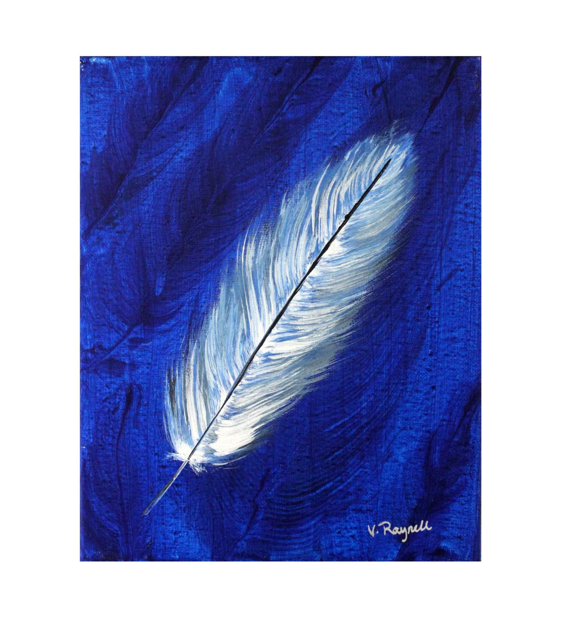 """*VB 5 X 7 Painted Canvas """"Blue / White Feather"""""""