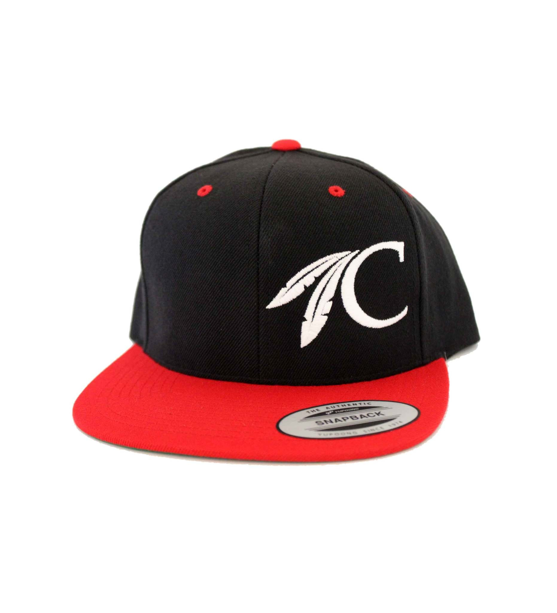 FLAT BILL Black & Red C FEATHER Cap