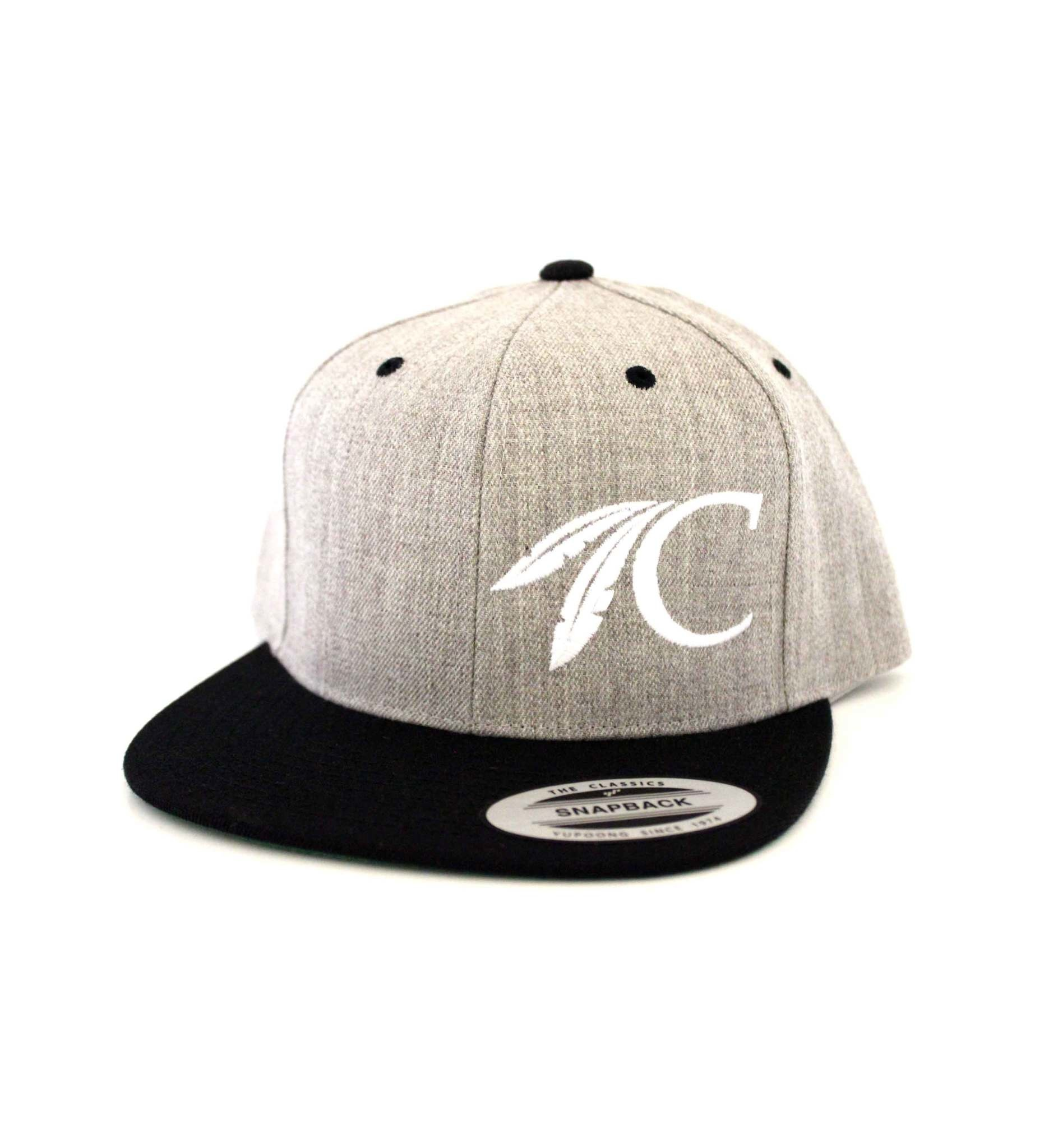 FLAT BILL Heather Grey & Black C FEATHER Cap