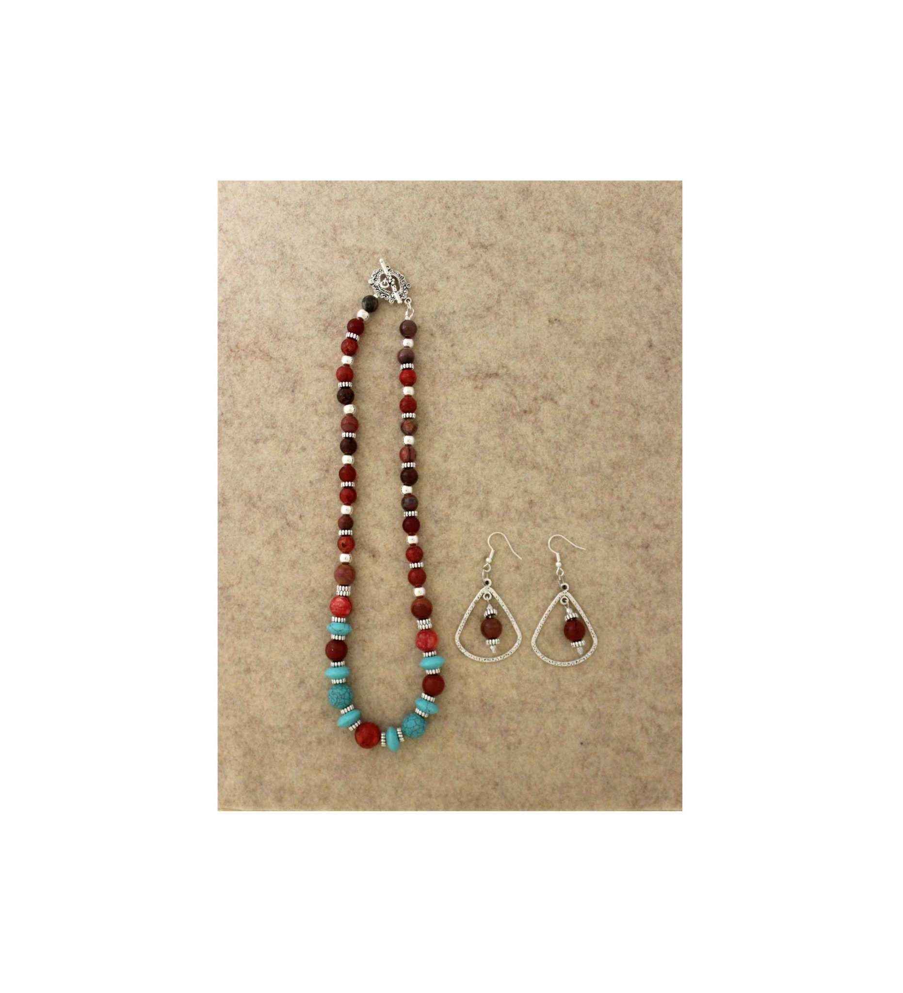 *JM 20191223209 Mixed Gemstone Turquoise & Coral Set