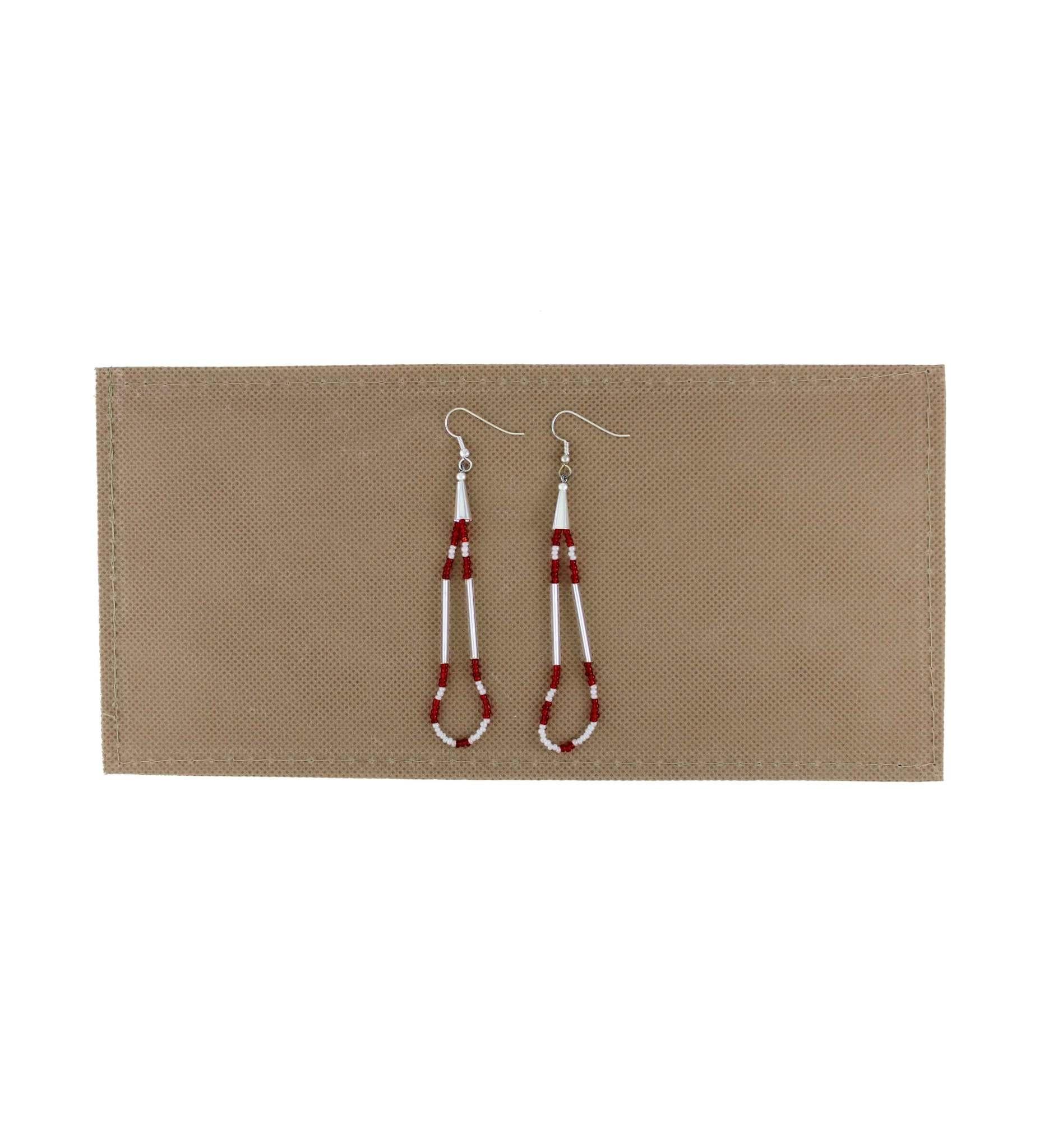 *BG Long Looped Sterling Silver Beaded Earrings