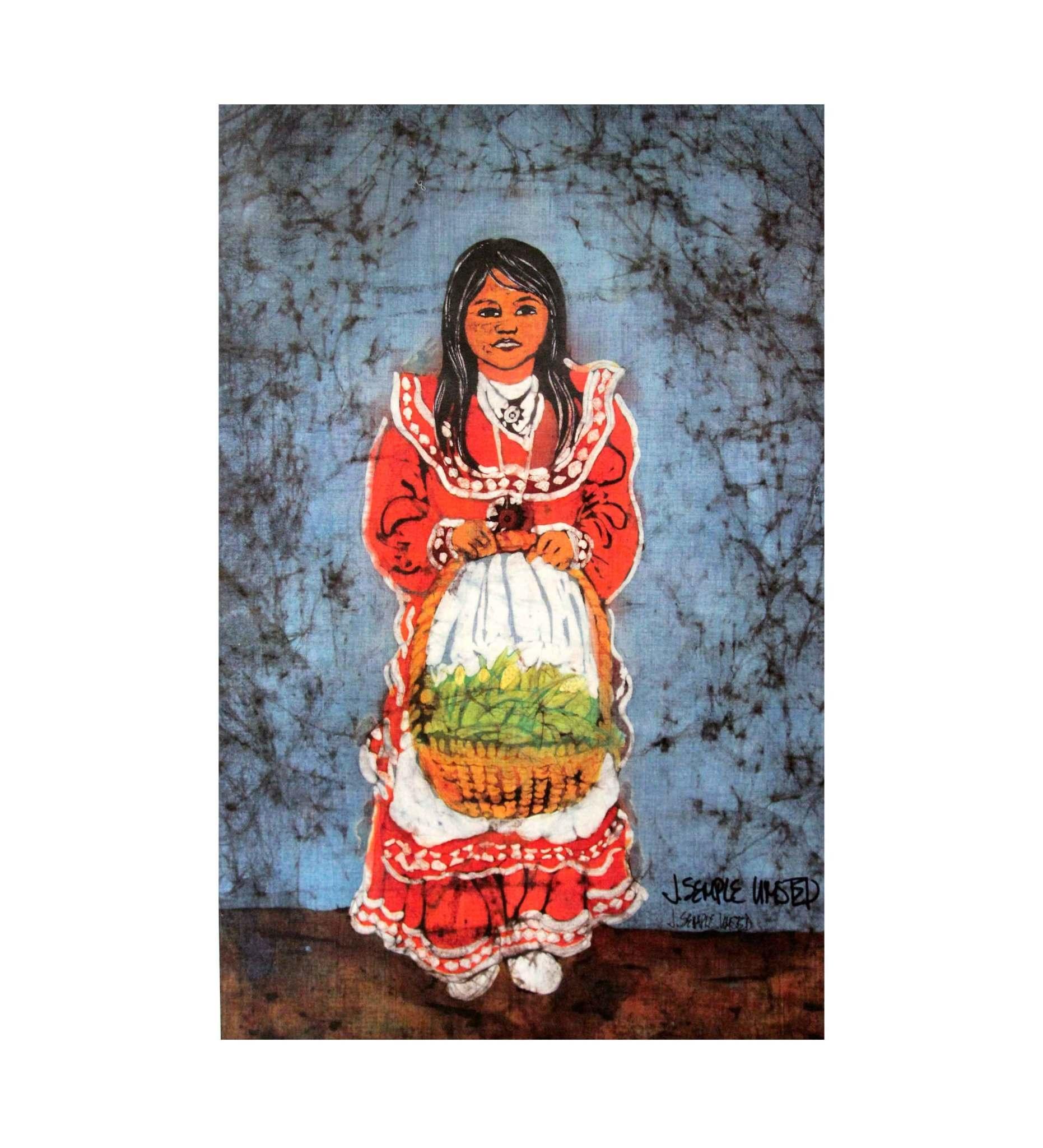 "*JU ""CHOCTAW LITTLE GIRL W/BASKET"" Print"