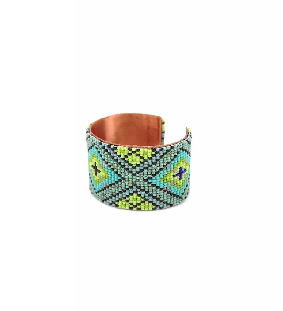 "*RS ""Beaded Copper Cuff Bracelet"" MEDIUM"