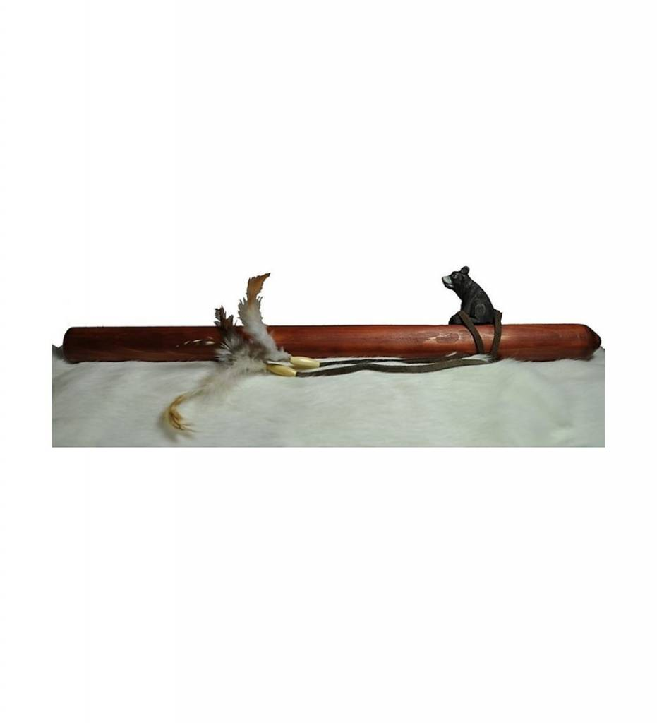 Carved Flute with Bear Tuner