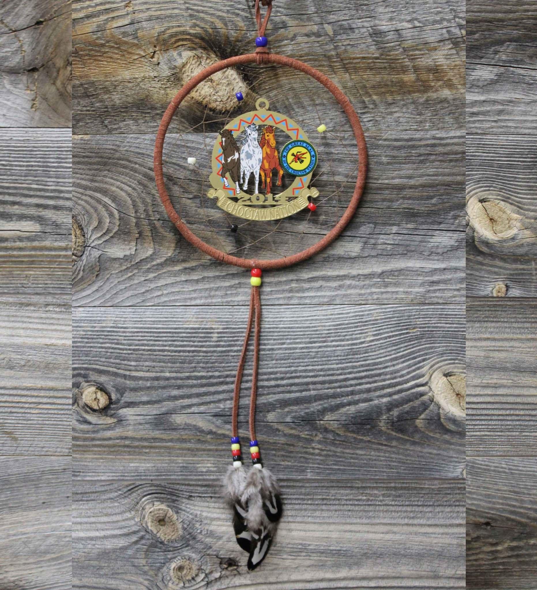 "*BD 6"" Choctaw Ponies Ornament Dreamcatcher"