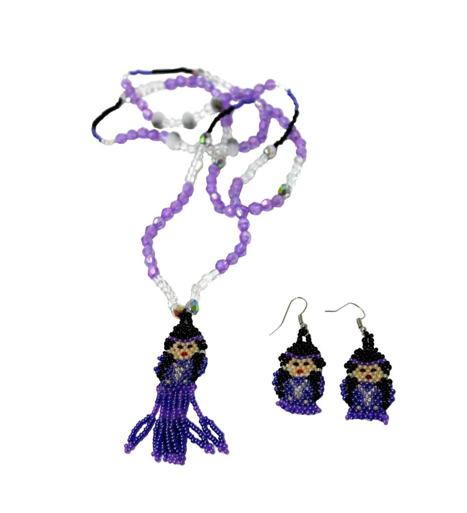 BT Purple Beaded Indian Doll Necklace & Earrings SET