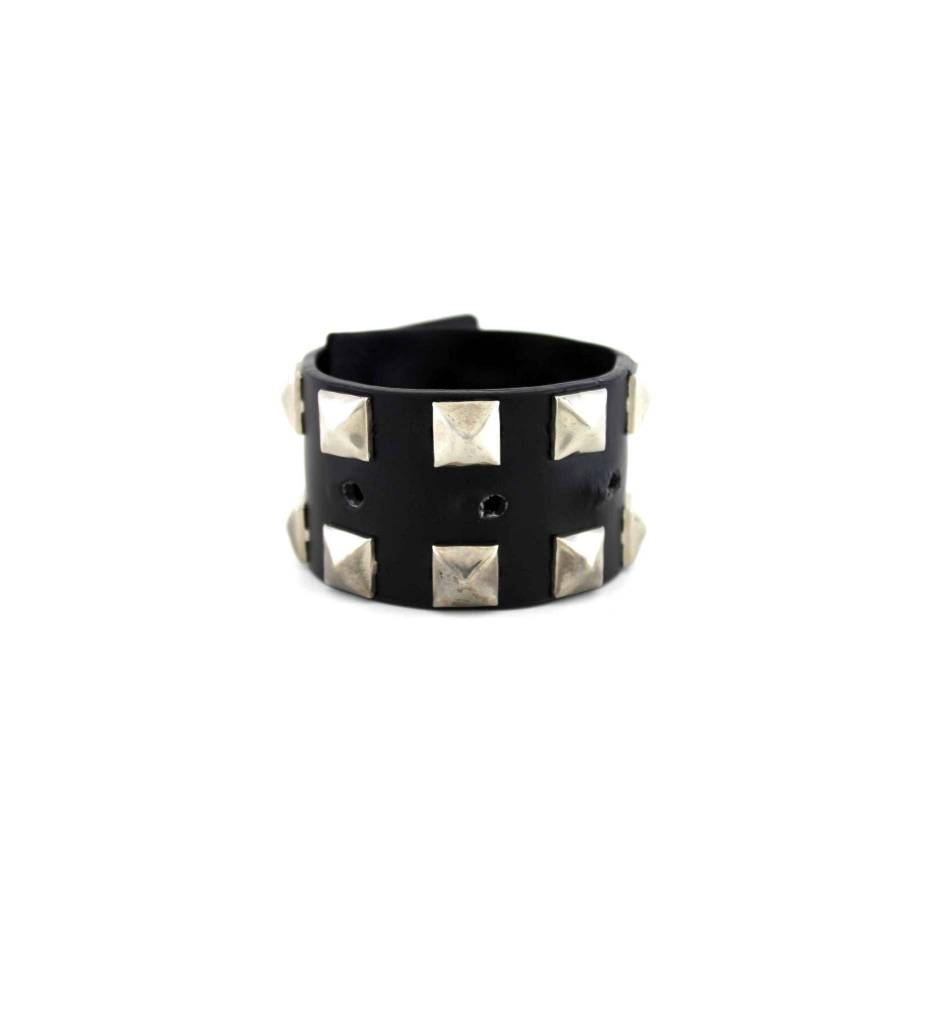 *GJ Fore-Worn Black Leather with Silver Studs SMALL BRACELET