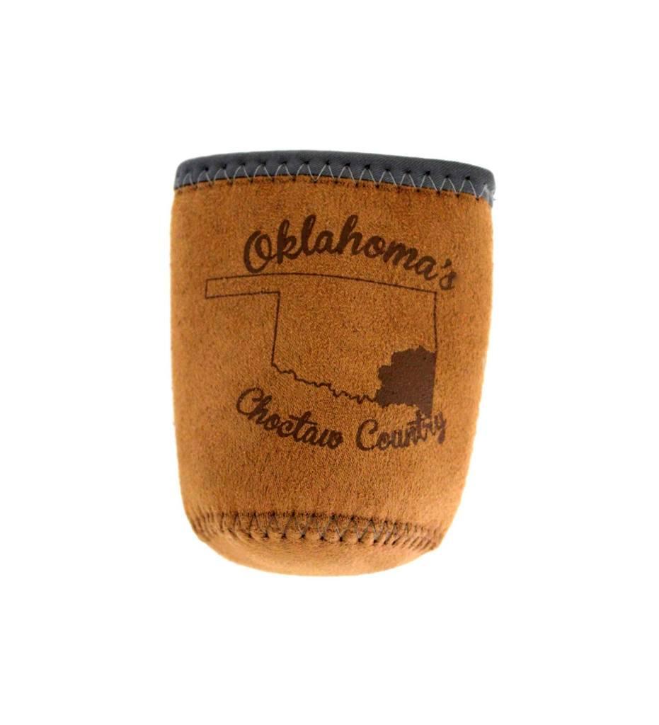 Oklahoma's Choctaw Country Koozie (Brown Suede)