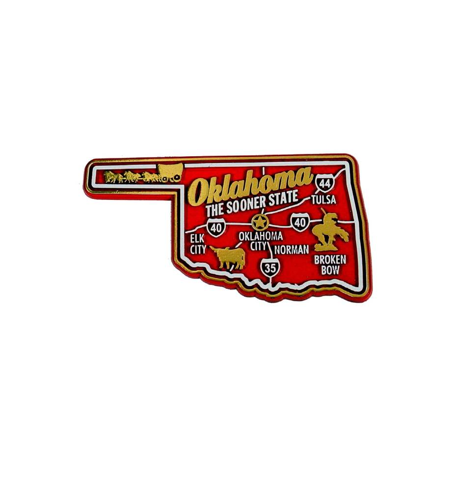 OKLAHOMA 3 COLOR MAP MAGNET
