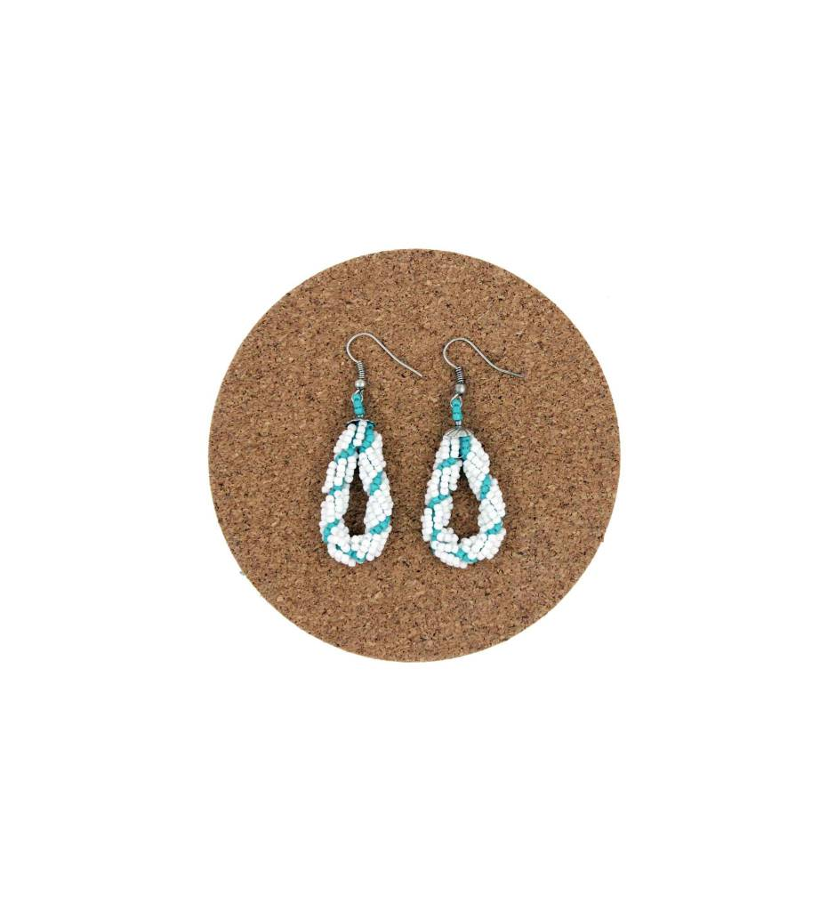 CM Turquoise & White Looped Beaded Earrings