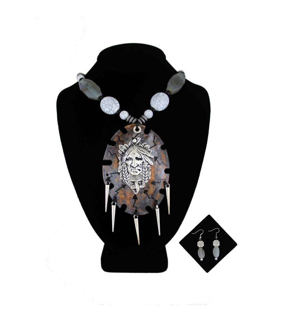 *KB Gourd Metal Indian Face Pendant with Gray Beads Necklace & Earrings