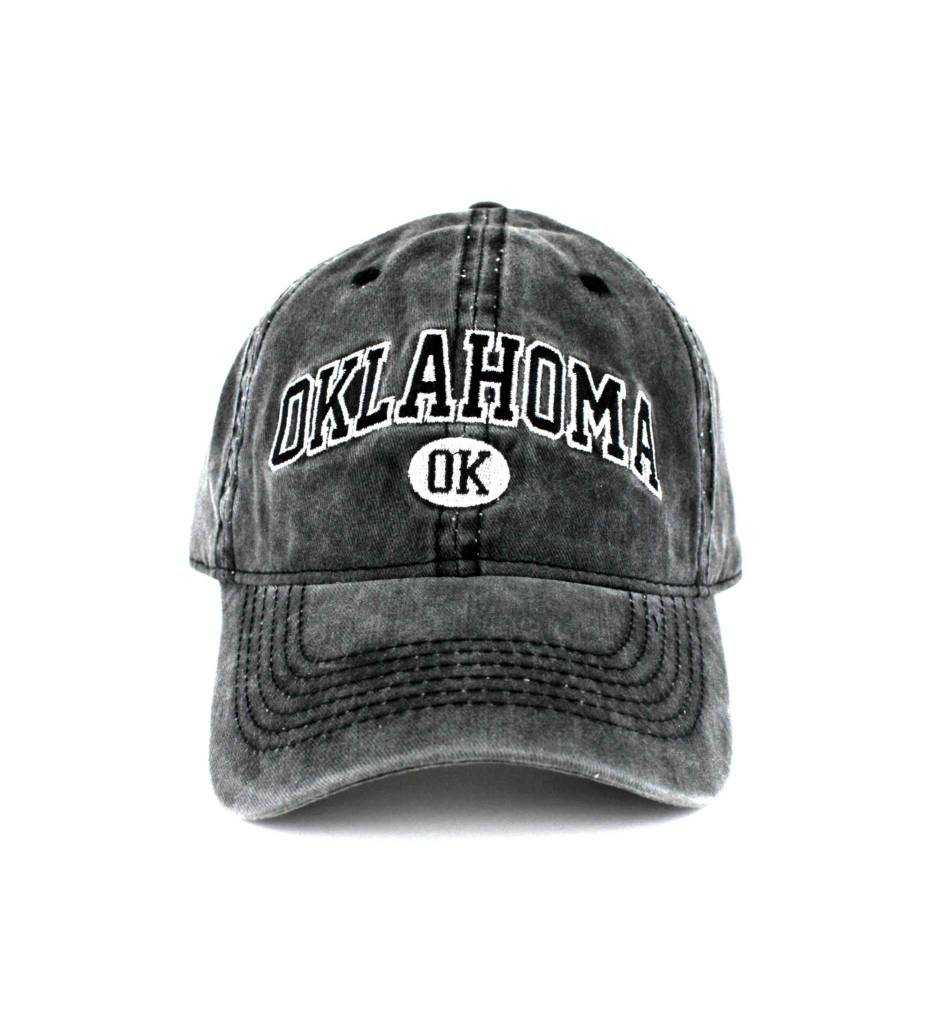 """OKLAHOMA OK"" Washed Charcoal Cap"