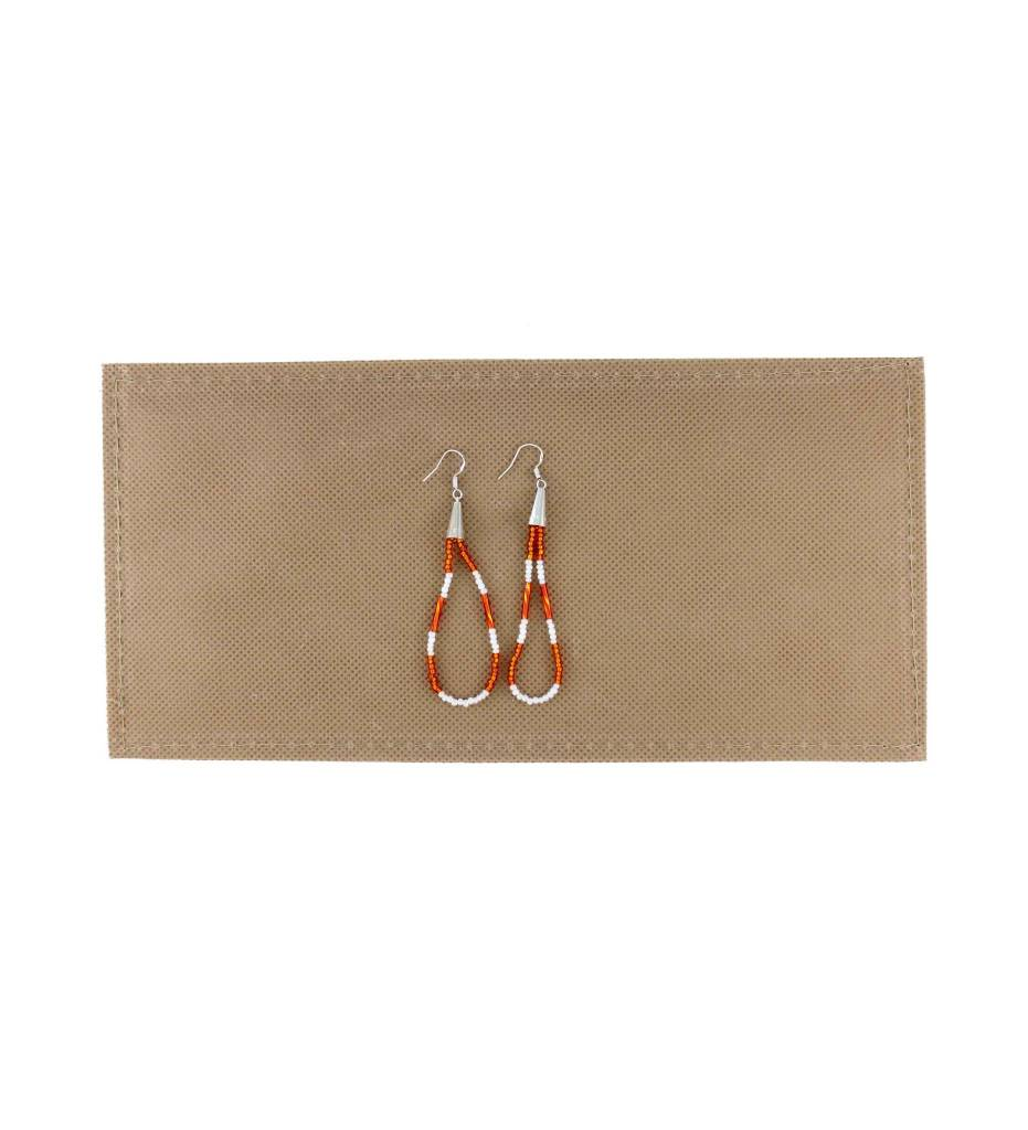 *BG Long Looped Beaded Sterling Silver Earrings