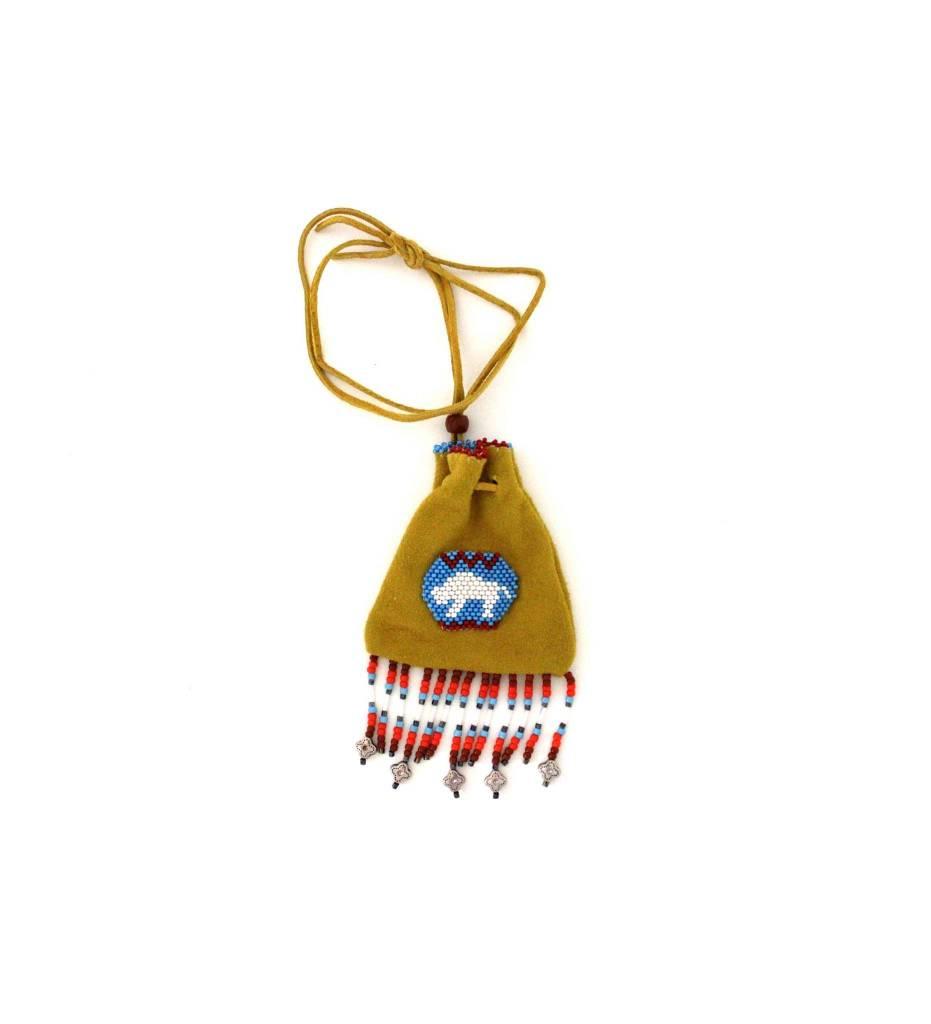 *AB Beaded Buffalo Medicine Bag & Fringe