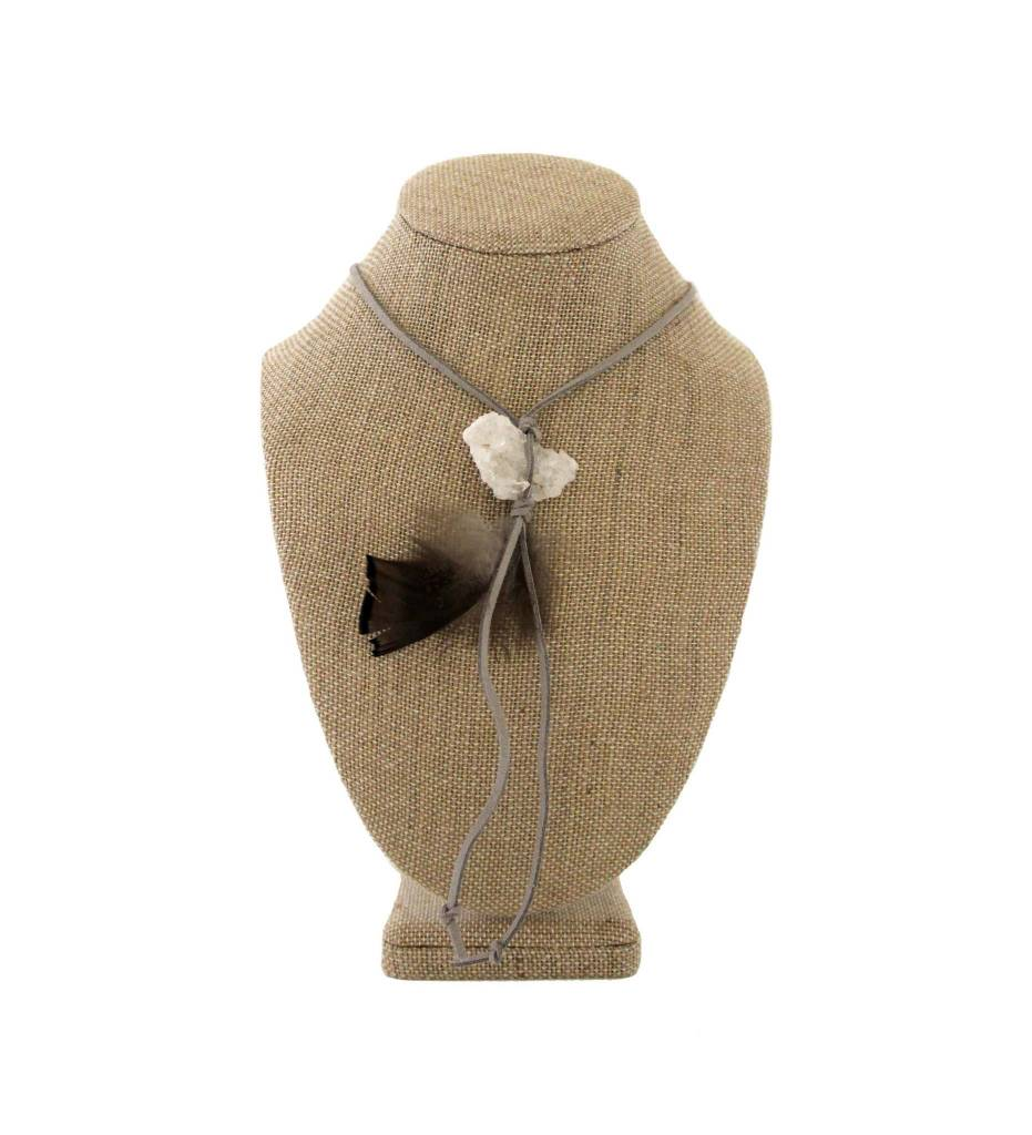 *JA Small Crystal Rock with Feather & Gray Suede Necklace