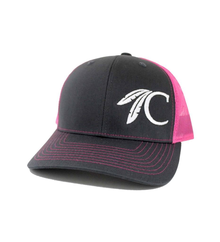 "Choctaw ""C"" Cap Charcoal & Pink"