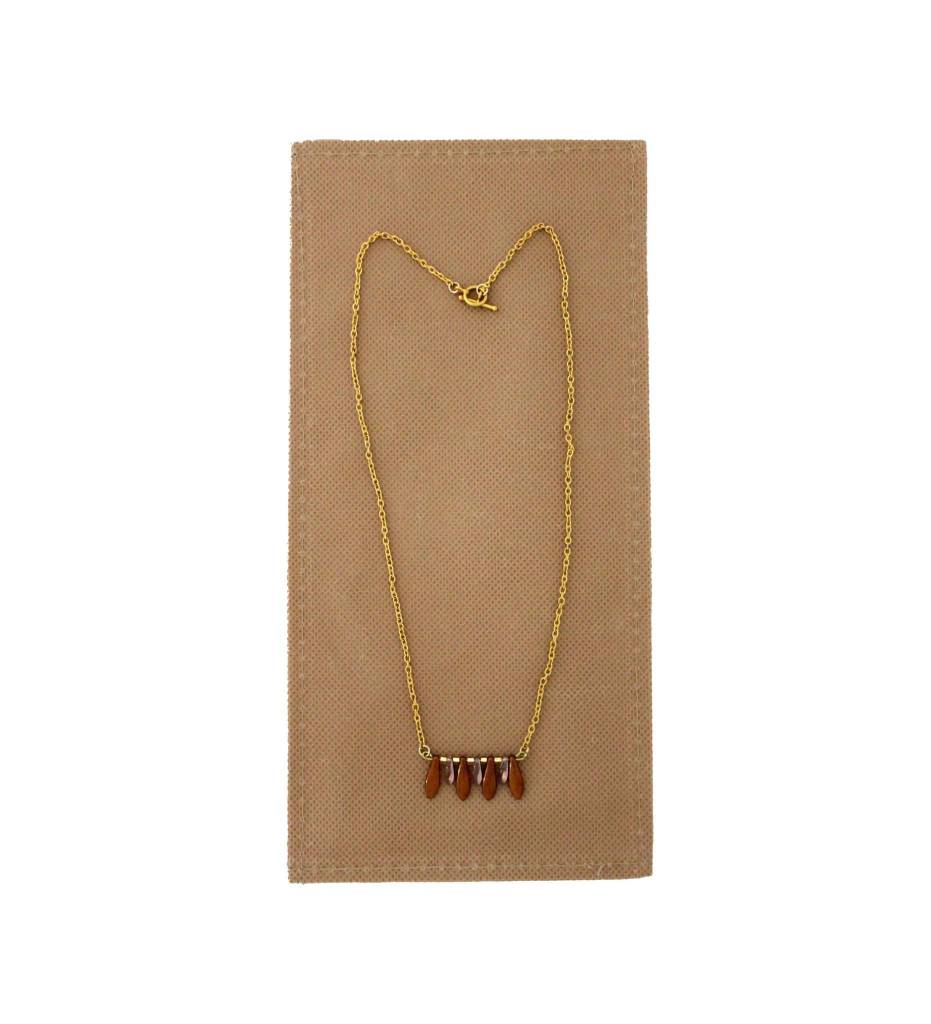 *JM Gold Chain with Brown Petals #18525