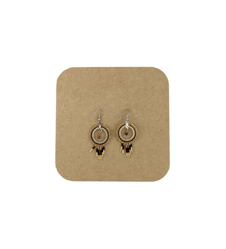 *AB Gold, Black Round Beaded Earrings w/Fringes