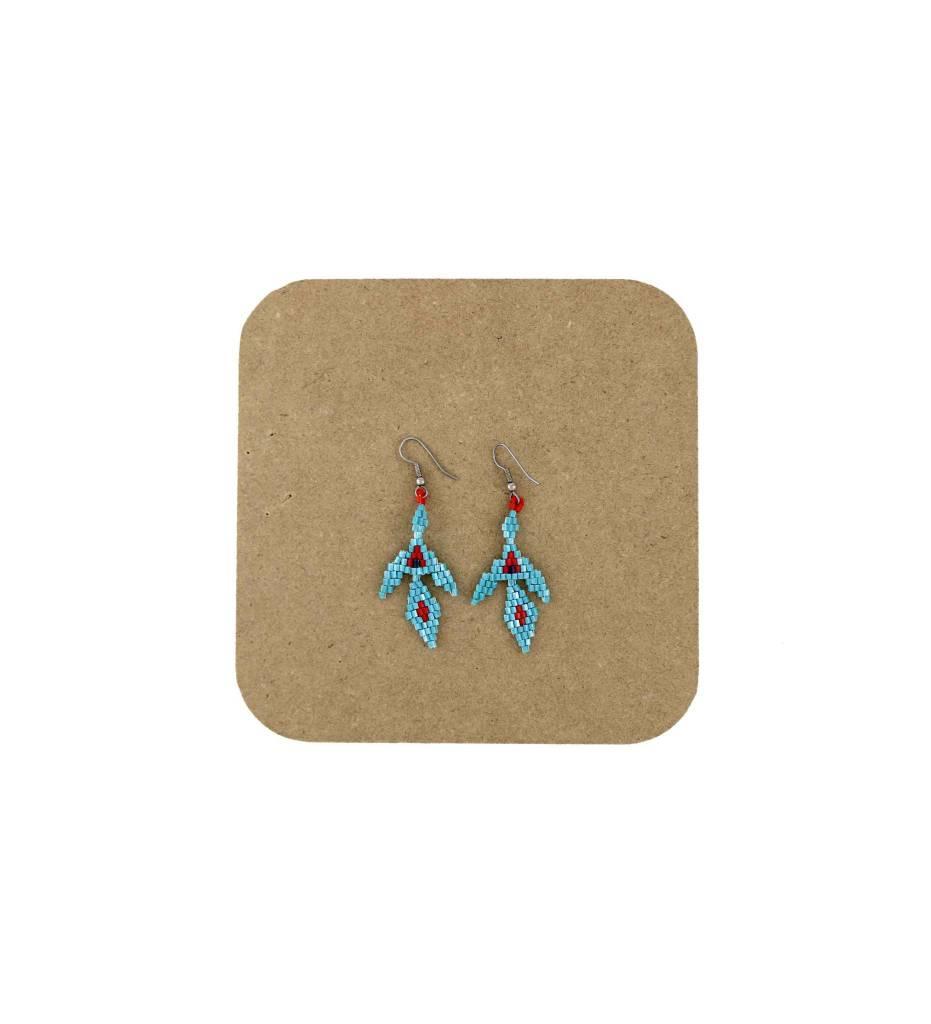 *AB Red, Green Beaded Firebird Earrings