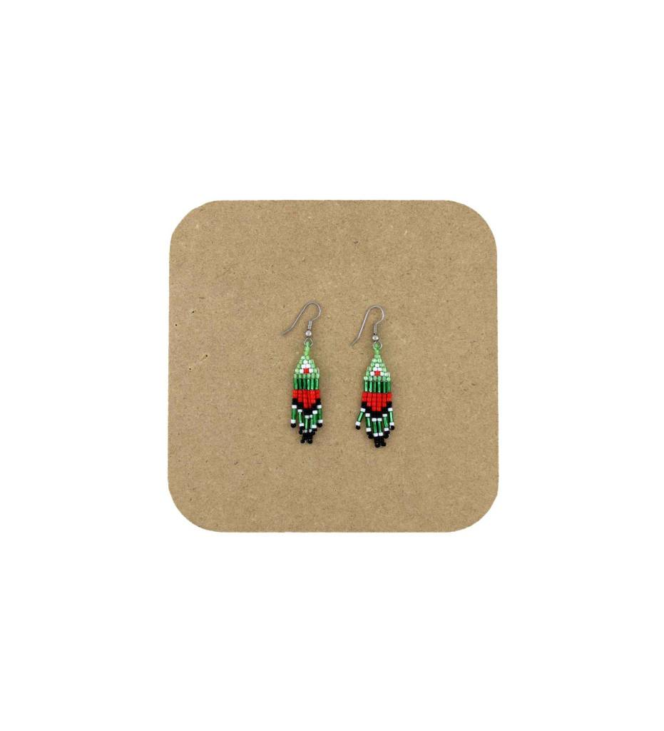 *AB Green, Red, Black Beaded Fringed Earrings