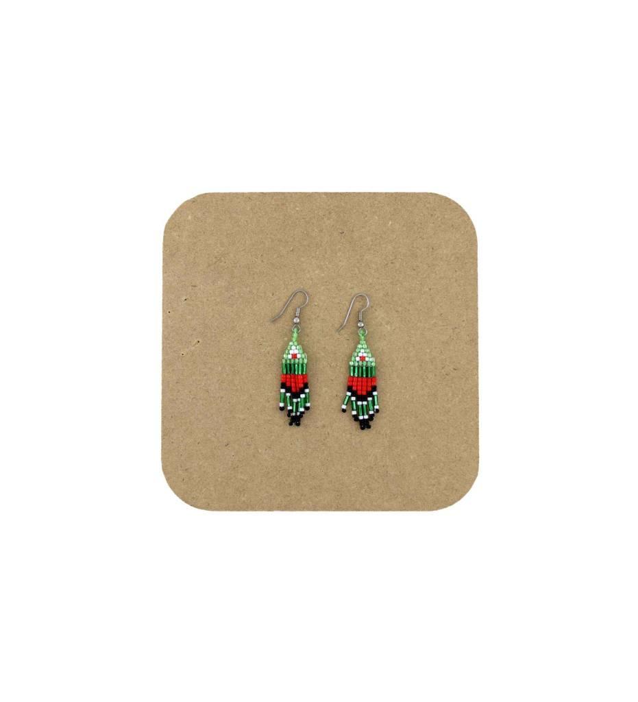 *AB Green, Red, Black Beaded Fringed Earrings
