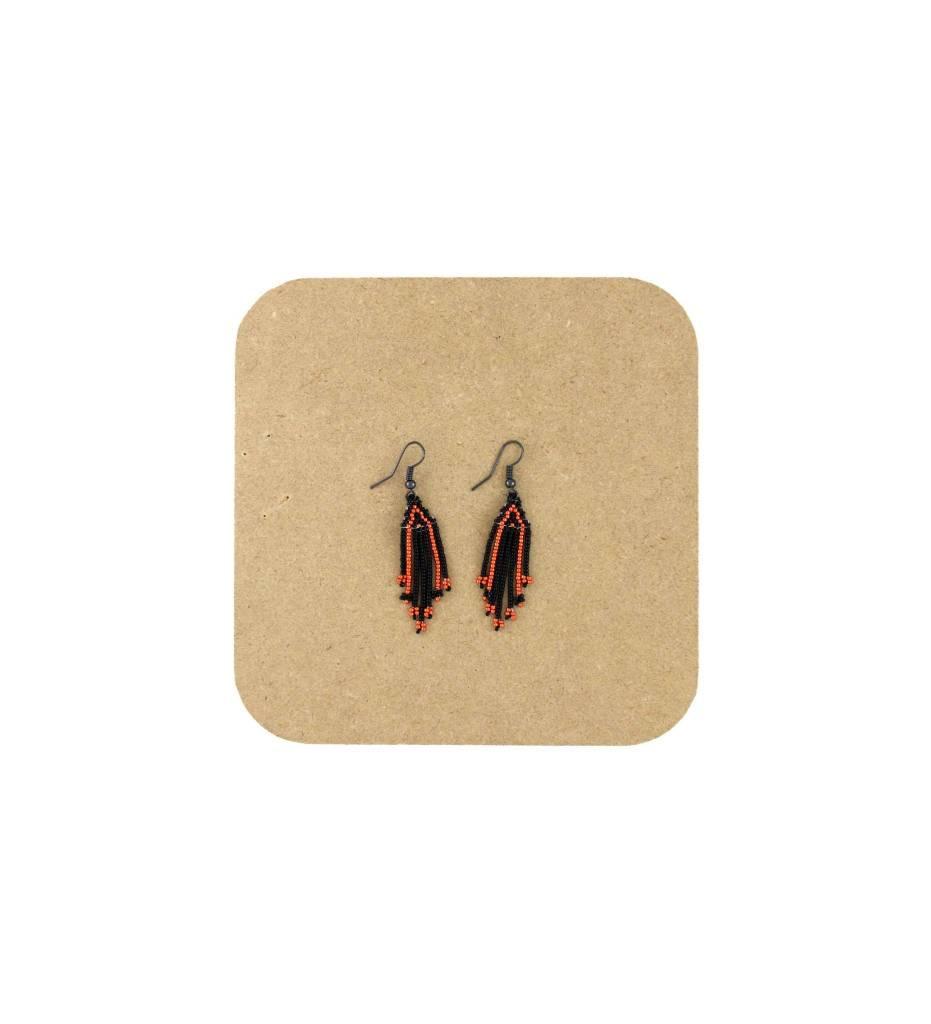 *AB Black, Orange Beaded Fringes Earrings