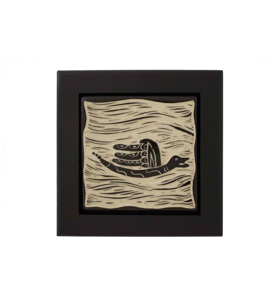 "*CBY 4"" Framed Tile ""Winged Serpent"" Black & White"