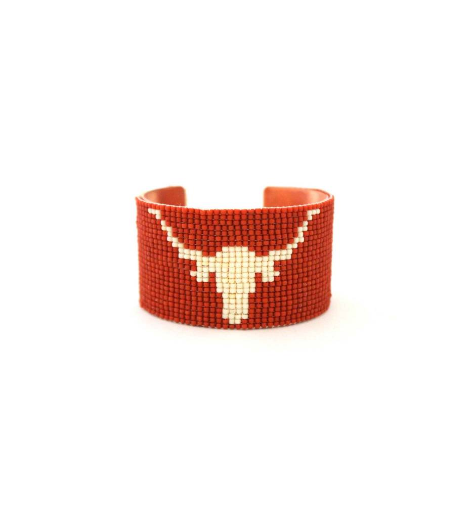 "*RS Beaded Cuff Bracelet ""Longhorn"""