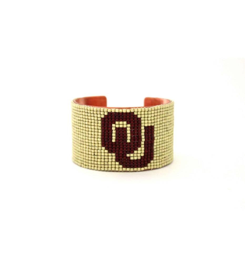 "*RS Beaded Cuff Bracelet ""OU"""
