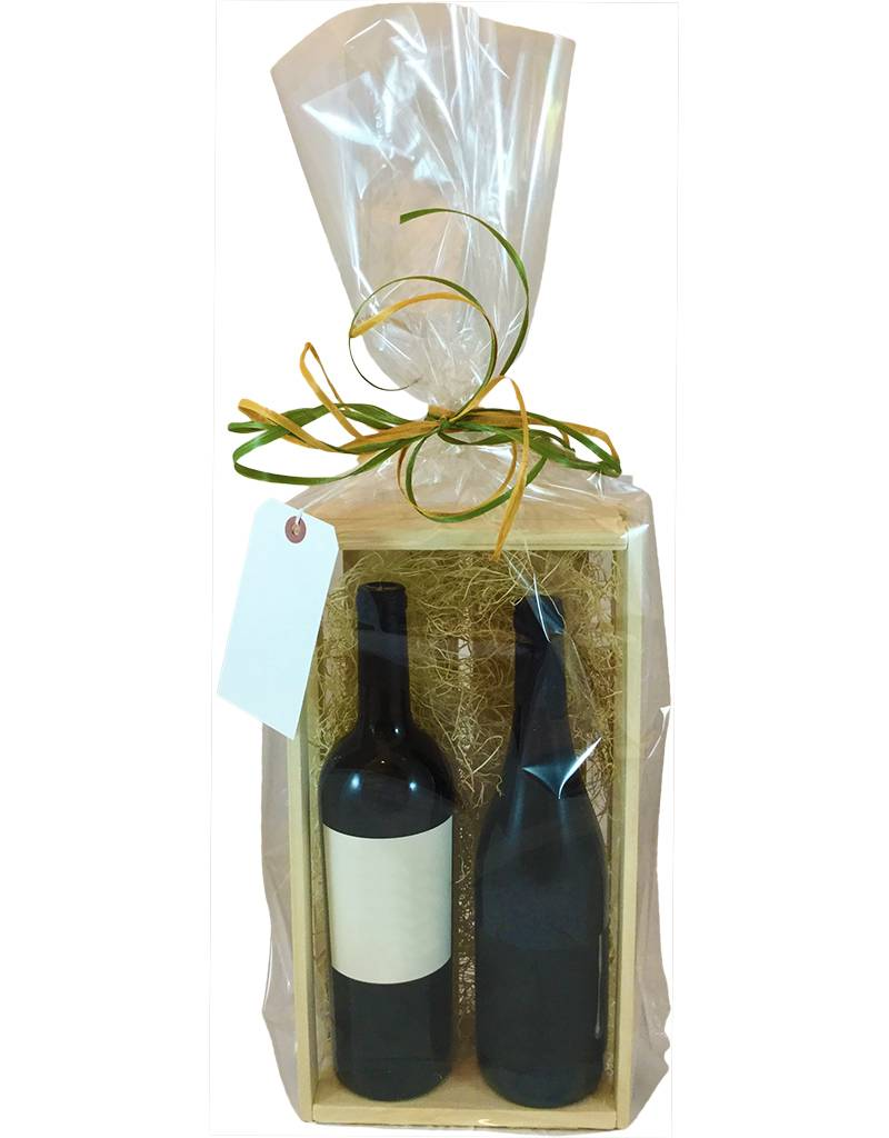 Wooden Crate Gift Package 2 Bottles