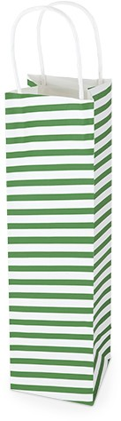 Kraft gift bag GREEN STRIPE